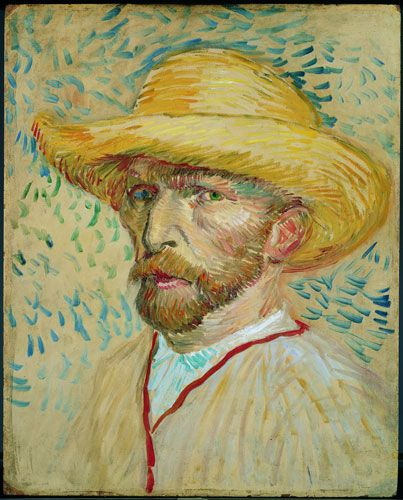 Vincent van Gogh painting, Self-portrait with a straw hat and artist's smock, 1887.