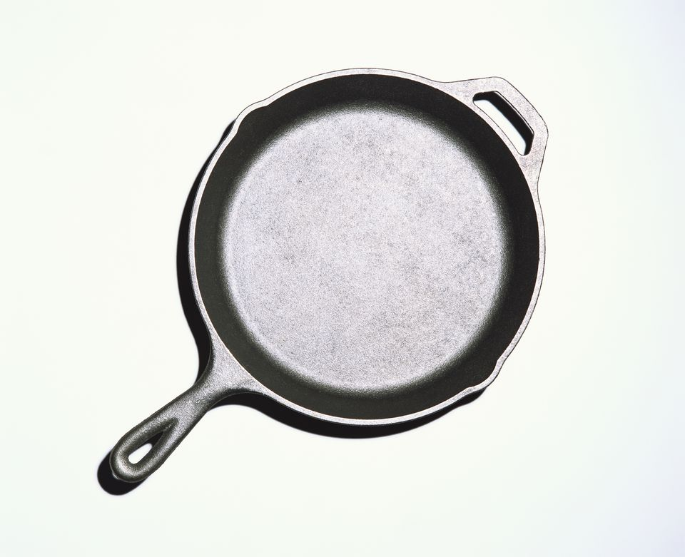 Overhead of Empty Cast Iron Skillet on White Background