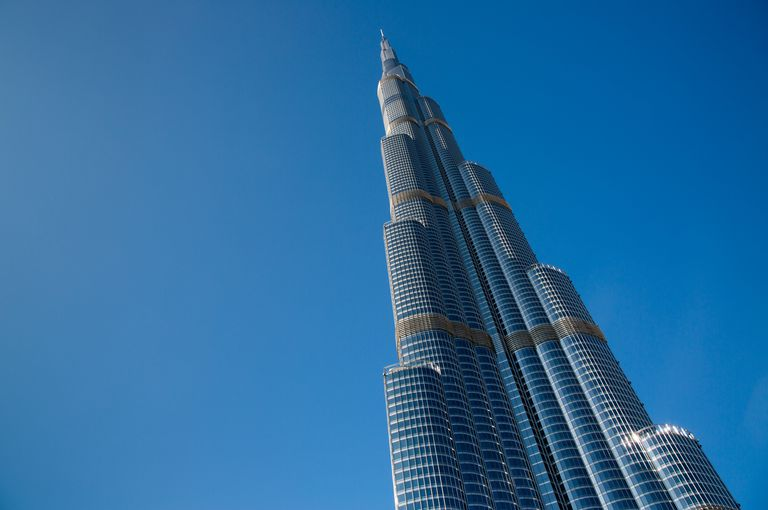 low angle view, looking up to the towered top of the Burj Khalifa Tower