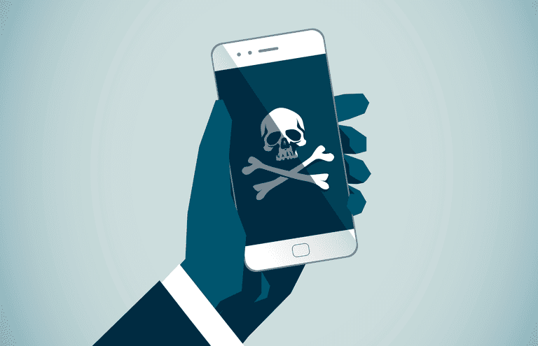 Illustration representing malware or viruses on a smartphone device