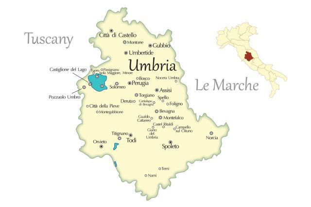Umbria Cities Travel Map in Italy