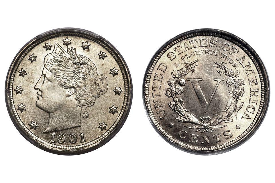 """Liberty Head Nickel """"V"""" Nickel 1901 uncirculated"""