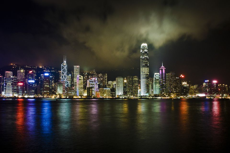 The Hong Kong skyline at night.