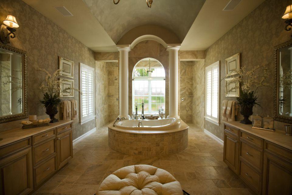 Luxury bathroom with spa tub