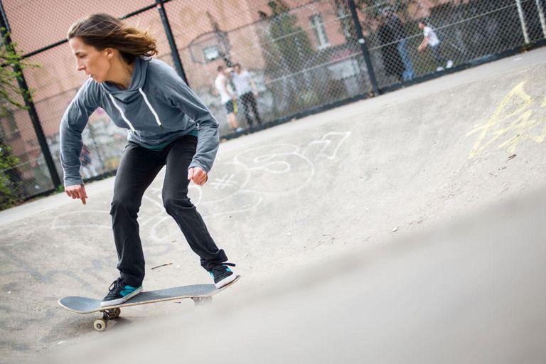 Skater girl at an urban skate park