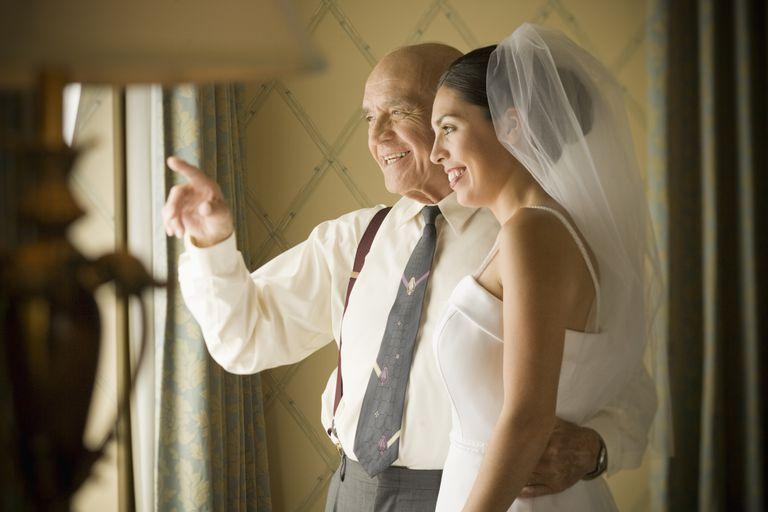 Latino bride with grandfather