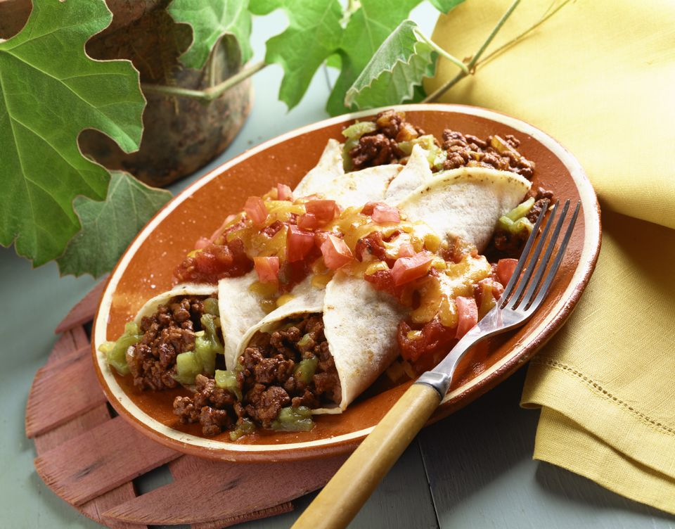 enchiladas with ground beef and tomatillo