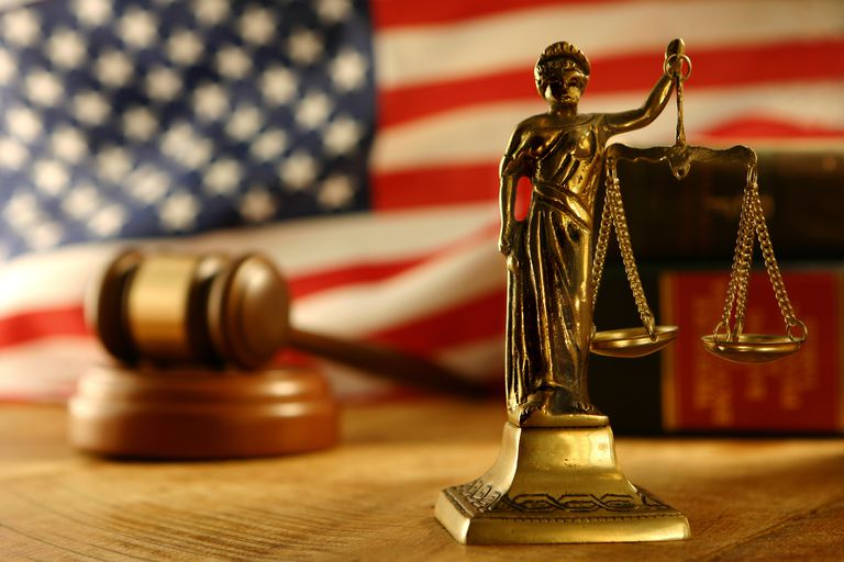 Scales of Justice and U.S. Flag