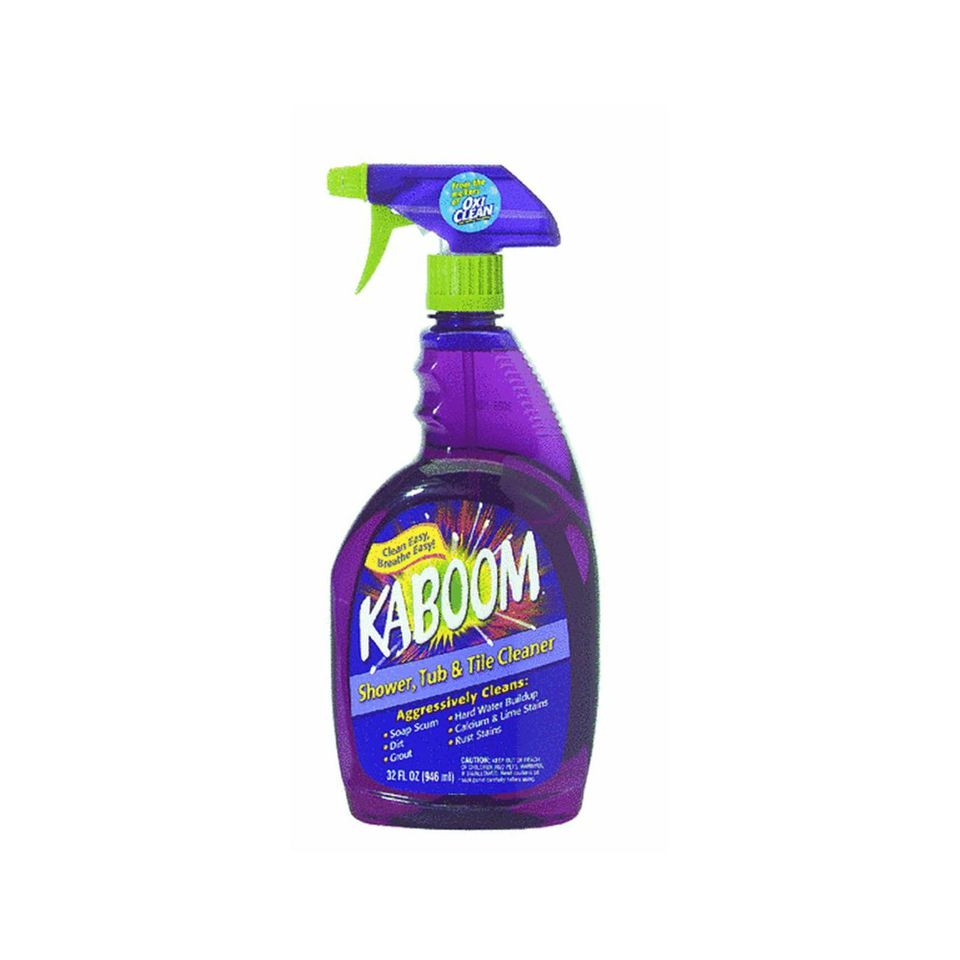 Kaboom Shower Tub and Tile works great on soap scum without harsh fumes.