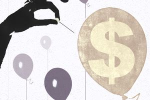Illustration of hand with needle popping a balloon with a dollar sign representing economic recessions.