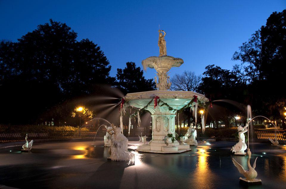 Forsyth Park's famous fountain, frozen in winter, Savannah