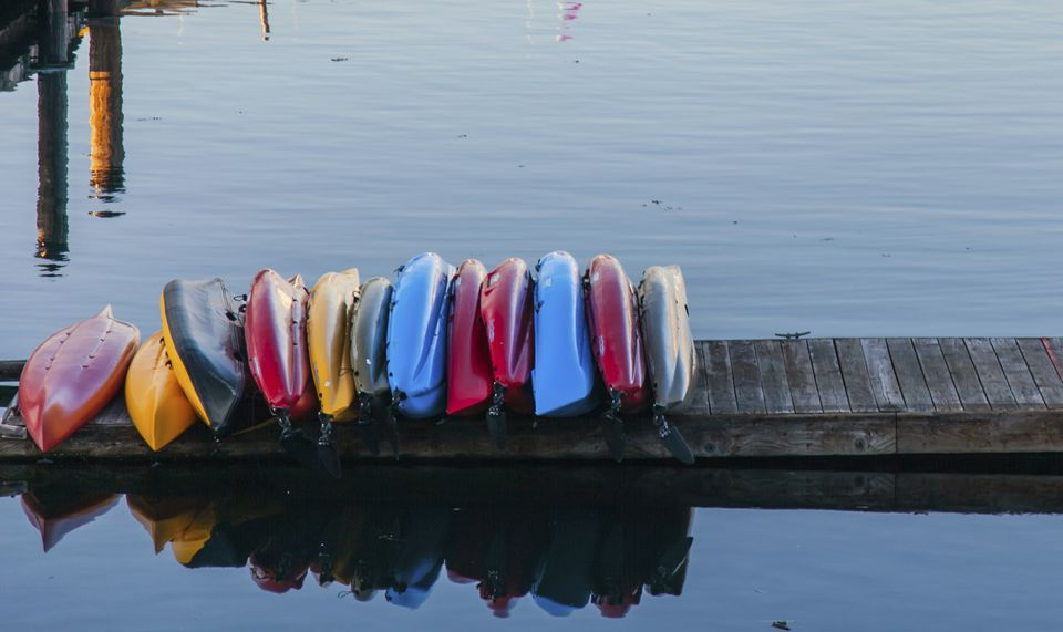 Kayaks on a dock.
