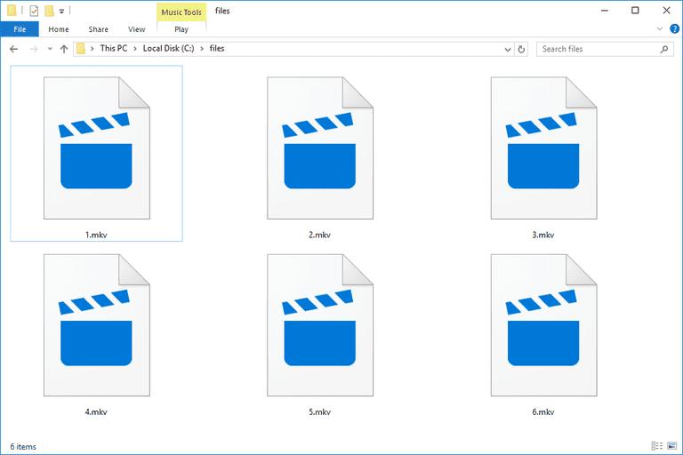 Screenshot of several MKV files in Windows 10