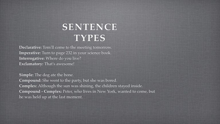 Sentence Type Summary