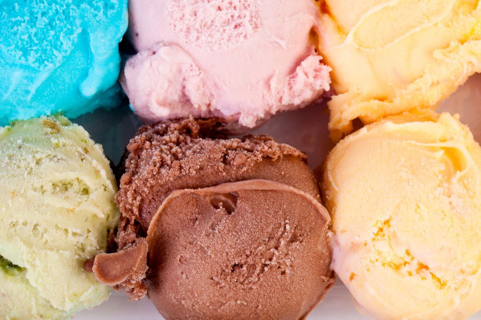Six different colors of ice cream