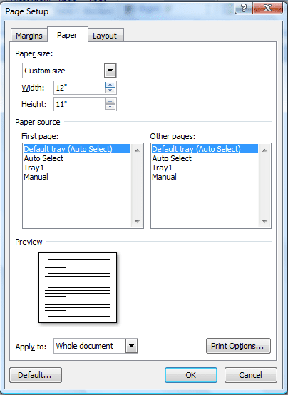 Save custom paper size word