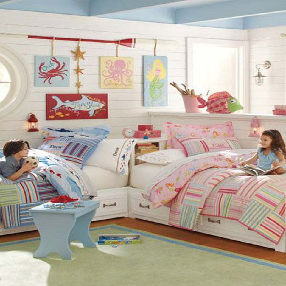 Great ideas for shared kids 39 bedrooms for Boy and girl bedroom designs