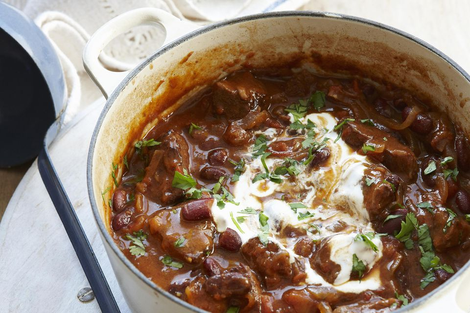 Pot of chili con carne