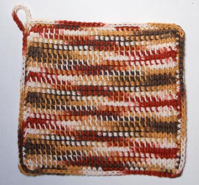 Tunisian Crochet Potholder in Variegated Shades of Brown Yarn