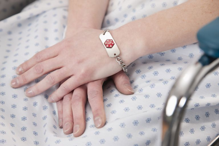 USA, Illinois, Metamora, Close-up of female patient hands with medical identity bracelet