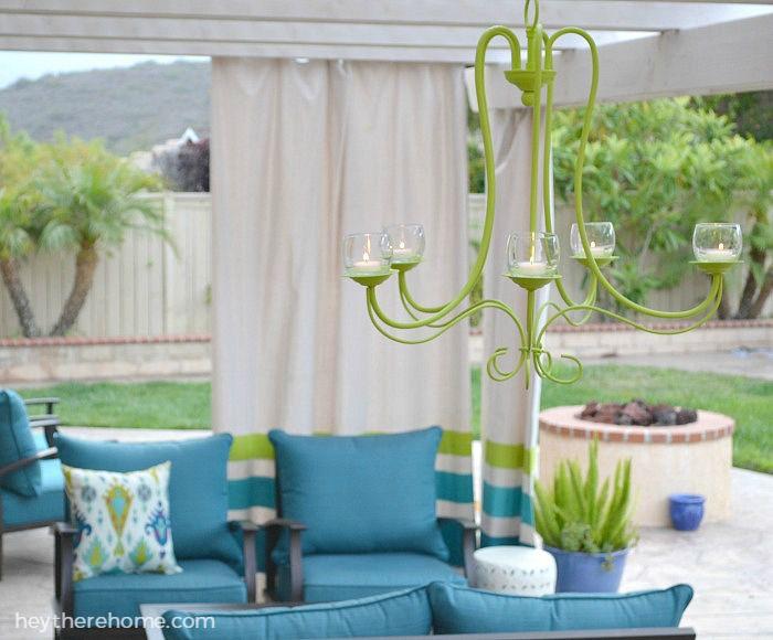 DIY outdoor decor ideas, patio decor -- candle chandelier