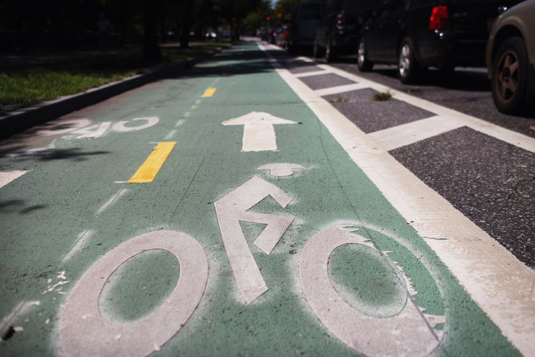 A bike lane in Brooklyn, New York, 2011, embraces Mayor Bloomberg's urban vision