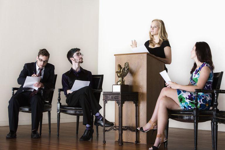 debaters on stage