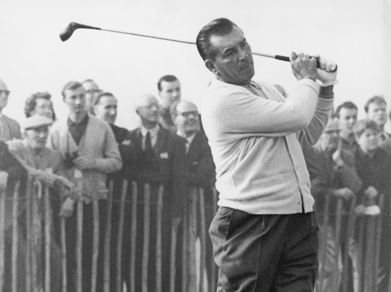 American golfer Julius Boros, a member of the US Ryder Cup team, drives off from the 1st at Royal Birkdale, Southport, 7th October 1965