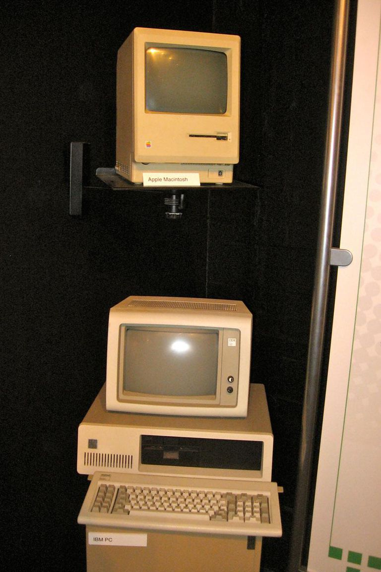 Top: The first Apple Mac Bottom: the first IBM PC