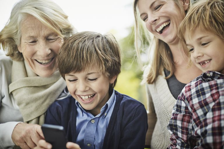 Pokemon GO - mother, grandmother, boys with cell phone