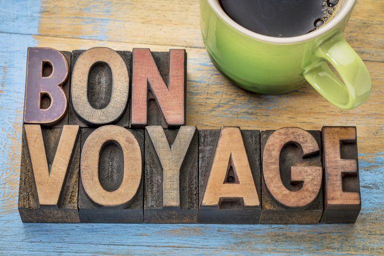 A sign saying Bon Voyage.