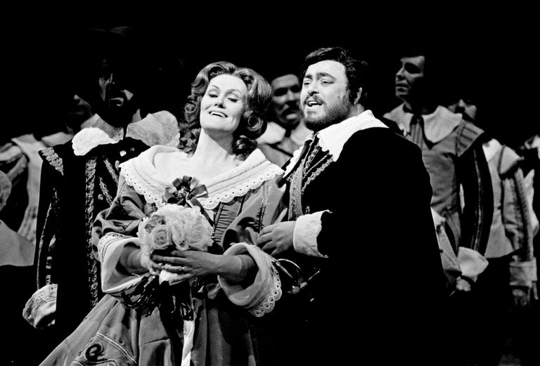 Luciano Pavarotti and Joan Sutherland starring in the Metropolitan Opera's 'I Puritani' photographed on February 25, 1975.