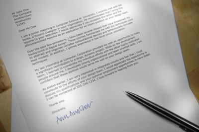 professional layout sample for cover letter