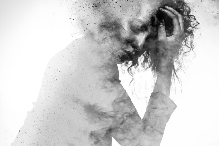 Woman's form double exposed with paint splatter effect