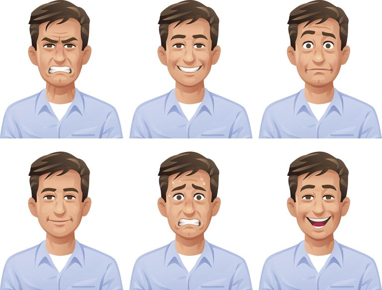 Illustration of man with different facial expressions
