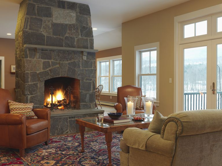 living room in winter with fireplace