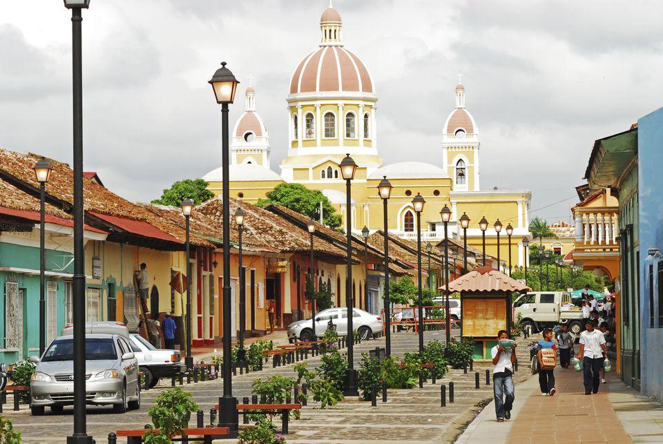 Calle La Calzada and Cathedral de Granada on the background