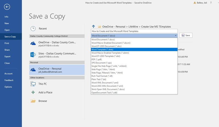 how to create a copy of a word document