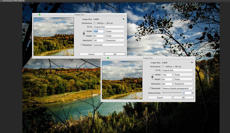 Photo shows two Image size dialog boxes with resolution values of 100 and 300.