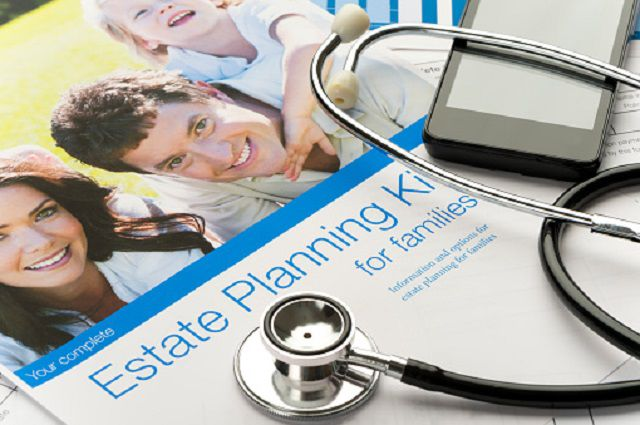 Family Estate planning document with stethoscope
