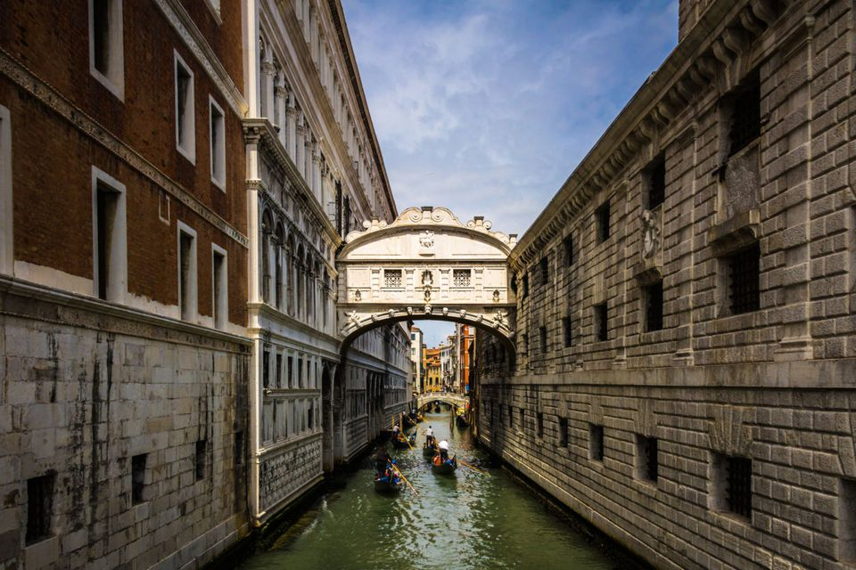 gondolas and bridge of sighs