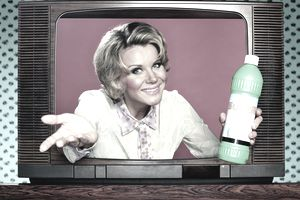 Woman holding a product and emerging from a television screen