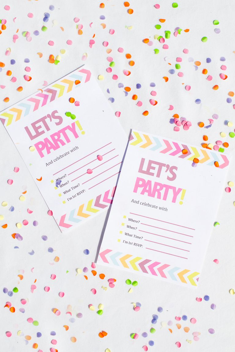 Free Printable Neon Chevron Bachelorette Party Invites