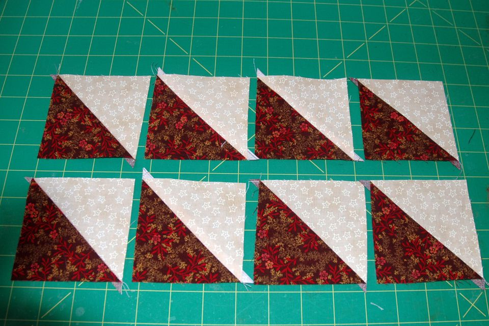 How to Sew 8 Identical Half Square Triangle Units