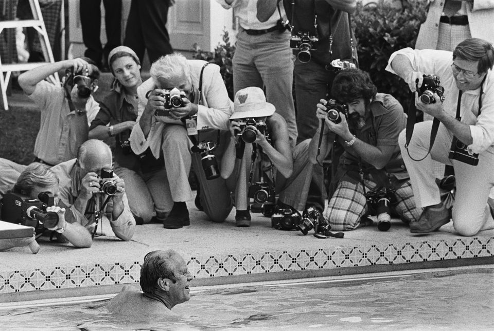 President Ford swims at the White House