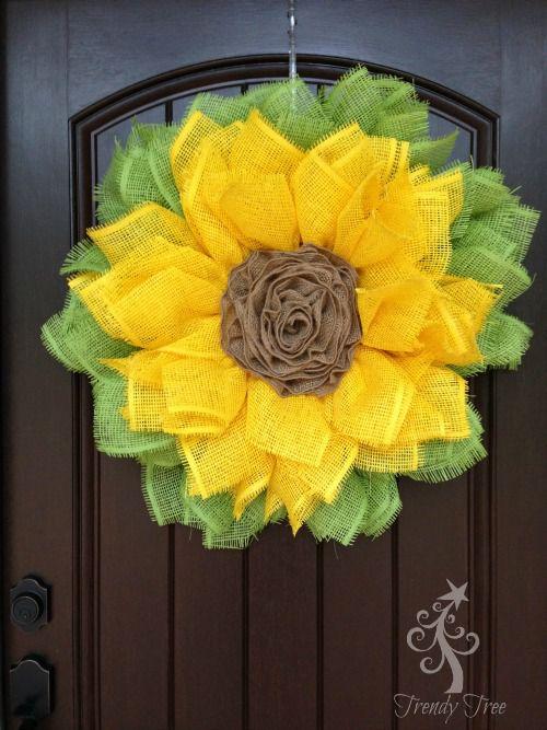 ribbon sunflower wreath