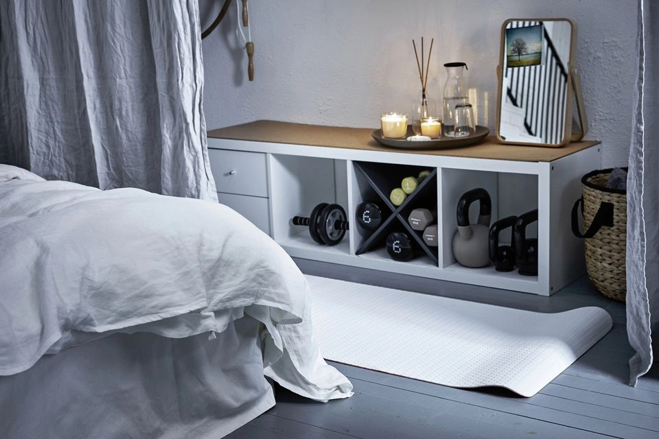 nook for working out in a bedroom