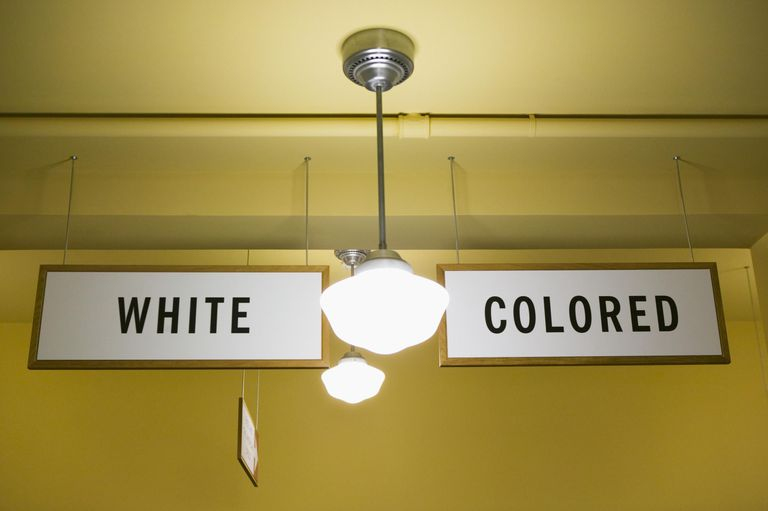 USA, Kansas, Topeka, White and Colored segregation signs