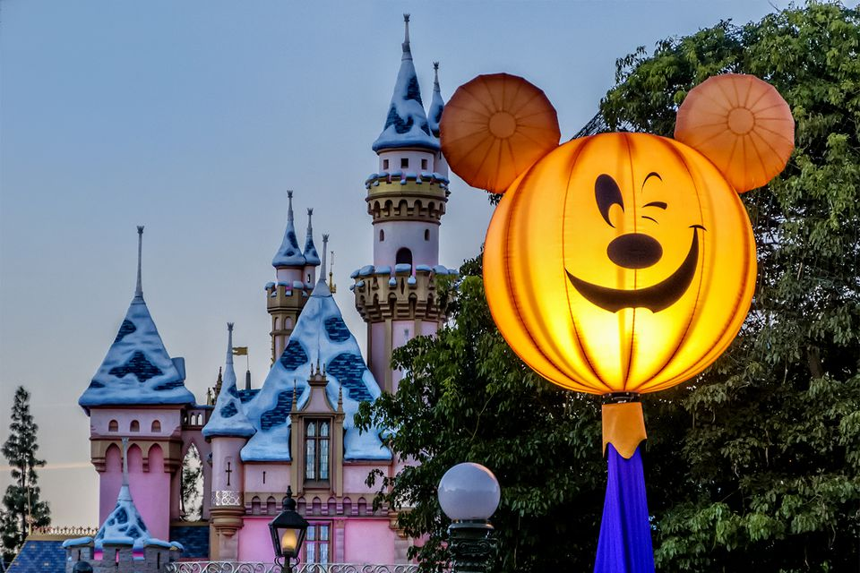 Lighted Mickey Mouse Jack o'Lantern and Disneyland Castle