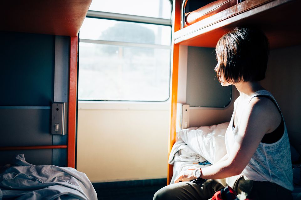 Woman in Sleeper Carriage on Night Train